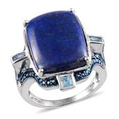 Lapis Lazuli, Electric Blue Topaz, Blue Diamond Platinum Over Sterling Silver Ring (Size 8.0) TDiaWt 0.01 cts, TGW 19.590 cts.