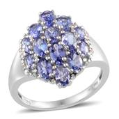 Tanzanite, Diamond Platinum Over Sterling Silver Ring (Size 7.0) , TDiaWt 0.02 cts, TGW 3.420 cts.
