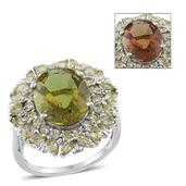 Alexite, Hebei Peridot, Diamond Platinum Over Sterling Silver Ring (Size 8.0) TDiaWt 0.02 cts, TGW 11.720 cts.