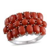 Mediterranean Coral Platinum Over Sterling Silver Ring (Size 7.0) TGW 8.730 cts.
