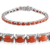 Mediterranean Coral Platinum Over Sterling Silver Bracelet (7.50 In) TGW 12.000 cts.