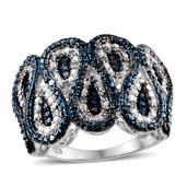 Blue Diamond (IR), Diamond Platinum Over Sterling Silver Ring (Size 7.0) TDiaWt 0.33 cts, TGW 0.330 cts.