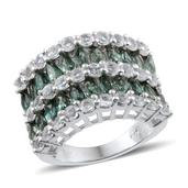 Indian Ocean  Apatite, White Topaz Platinum Over Sterling Silver Ring (Size 9.0) TGW 8.000 cts.