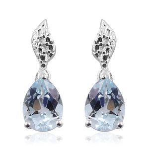 Sky Blue Topaz Sterling Silver Earrings TGW 2.65 cts.
