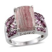 Argentinian Rhodochrosite, Orissa Rhodolite Garnet Platinum Over Sterling Silver Ring (Size 9.0) TGW 11.880 cts.