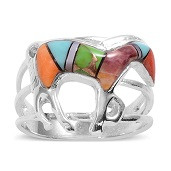 Santa Fe Style Multi Color Turquoise, Muli Color Spiny Oyster Shell, Mother of Pearl Sterling Silver Ring (Size 9.0) TGW 0.50 cts.