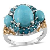 Arizona Sleeping Beauty Turquoise, Malgache Neon Apatite 14K YG and Platinum Over Sterling Silver Ring (Size 7.0) TGW 6.730 cts.