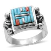 Santa Fe Style Turquoise, Red Spiny Oyster Shell Sterling Silver Ring (Size 10.0) TGW 1.151 cts.