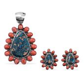 Santa Fe Style Mojave Blue Turquoise, Spiny Oyster Shell Sterling Silver Red Earrings and Pendant without Chain TGW 17.960 cts.