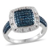 Blue Diamond (IR), Diamond Platinum Over Sterling Silver Ring (Size 9.0) TDiaWt 0.10 cts, TGW 0.100 cts.