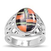Santa Fe Style Multi Gemstone Sterling Silver Ring (Size 13) TGW 1.102 cts.