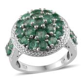 Kagem Zambian Emerald, Diamond Platinum Over Sterling Silver Ring (Size 8.0) TDiaWt 0.02 cts, TGW 4.200 cts.