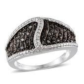 Black Diamond (IR) Platinum Over Sterling Silver Ring (Size 9.0) TDiaWt 0.50 cts, TGW 0.50 cts.