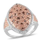 Red Diamond (IR), Diamond 14K RG and Platinum Over Sterling Silver Ring (Size 7.0) TDiaWt 0.50 cts, TGW 0.500 cts.