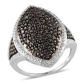 Black Diamond (IR), Diamond Platinum Over Sterling Silver Ring (Size 10.0) TDiaWt 0.50 cts, TGW 0.50 cts.
