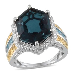 Seaside Quartz, Electric Blue Topaz, Diamond 14K YG and Platinum Over Sterling Silver Ring (Size 8.0) TGW 13.21 cts.
