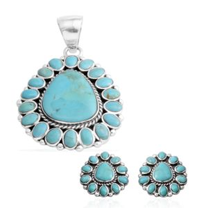 Santa Fe Style Turquoise Sterling Silver Earrings and Pendant without Chain TGW 63.800 cts.