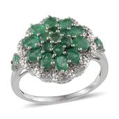 Kagem Zambian Emerald, Diamond Platinum Over Sterling Silver Ring (Size 7) TDiaWt 0.01 cts, TGW 2.500 cts.