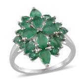 Kagem Zambian Emerald Platinum Over Sterling Silver Ring (Size 10.0) TGW 3.90 cts.