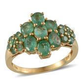 Kagem Zambian Emerald 14K YG Over Sterling Silver Ring (Size 6.0) TGW 3.250 cts.