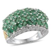 Kagem Zambian Emerald, Diamond Accent 14K YG and Platinum Over Sterling Silver Ring (Size 9.0) TDiaWt 0.03 cts, TGW 4.080 cts.