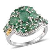 Kagem Zambian Emerald, Diamond 14K YG and Platinum Over Sterling Silver Ring (Size 6.0) TDiaWt 0.02 cts, TGW 3.325 cts.