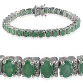 Kagem Zambian Emerald, Diamond Platinum Over Sterling Silver Bracelet (7.50 In) TDiaWt 0.02 cts, TGW 16.370 cts.