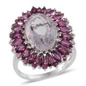 Rose De France Amethyst, Orissa Rhodolite Garnet Platinum Over Sterling Silver Ring (Size 9.0) TGW 10.050 cts.
