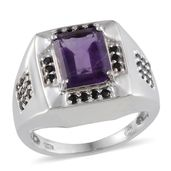 Amethyst, Thai Black Spinel Platinum Over Sterling Silver Ring (Size 8.0) TGW 4.000 cts.