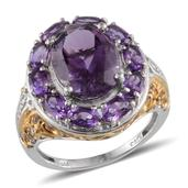 Amethyst, Diamond 14K YG and Platinum Over Sterling Silver Ring (Size 8.0) , TDiaWt 0.01 cts, TGW 8.160 cts.