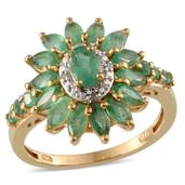 Kagem Zambian Emerald, Diamond 14K YG Over Sterling Silver Ring (Size 7.0) TDiaWt 0.02 cts, TGW 3.000 cts.