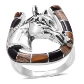 Santa Fe Style South African Tigers Eye, Picture Jasper, Black Onyx Sterling Silver Ring (Size 13.0) TGW 5.47 cts.