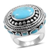 Santa Fe Style Turquoise Sterling Silver Handcrafted Ring (Size 8.0) TGW 2.100 cts.