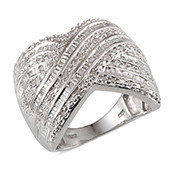 Diamond Platinum Over Sterling Silver Elongated Criss Cross Ring (Size 9.0) TDiaWt 0.50 cts, TGW 0.500 cts.