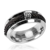 ION Plated Black and Stainless Steel Ring (Size 7.0)