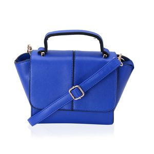 Blue Mini Faux Leather Crossbody Bag with Removable Shoulder Strap (9x4x6 in)