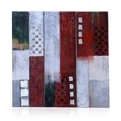 White, Green, Silver and Red Set of 3 Wall Painting (35.5x12 in)