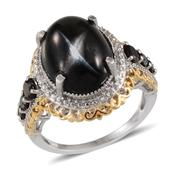 Indian Black Star Diopside, Thai Black Spinel Platinum Over Sterling Silver Ring (Size 7.0) TGW 13.29 cts.