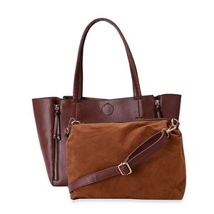 J Francis - Brown Faux Leather Handbag (13x6x10 in)