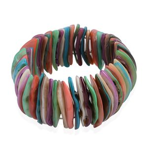Multi Color Shell Bracelet (Stretchable) (Size 7.00 In)