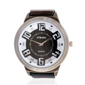 STRADA Japanese Movement Watch with Black Silicone Band and Stainless Steel Back