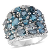 London Blue Topaz Sterling Silver Ring (Size 10.0) TGW 8.440 cts.