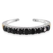Thai Black Spinel, Diamond 14K YG and Platinum Over Sterling Silver Cuff TDiaWt 0.01 cts, TGW 34.660 cts.
