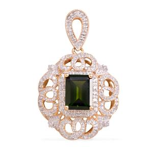 14K YG Russian Diopside, Diamond Pendant without Chain TDiaWt 0.17 cts, TGW 2.44 cts.