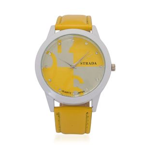 STRADA Austrian Crystal Japanese Movement Watch with Yellow Band and Stainless Steel Back