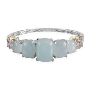 Brazilian Milky Aquamarine, Tanzanite 14K YG and Platinum Over Sterling Silver Bangle (7.5 in) TGW 49.01 cts.