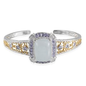 Brazilian Milky Aquamarine, Tanzanite 14K YG and Platinum Over Sterling Silver Cuff TGW 29.05 Cts.