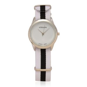 STRADA Japanese Movement Watch with White and Black Nylon Band & Stainless Steel Back