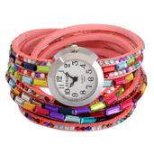 STRADA Japanese Movement Pink Wrap Watch with Stainless Steel Back