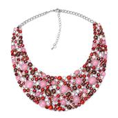Pink Chroma, Austrian Crystal Silvertone Bib Necklace (18 in)